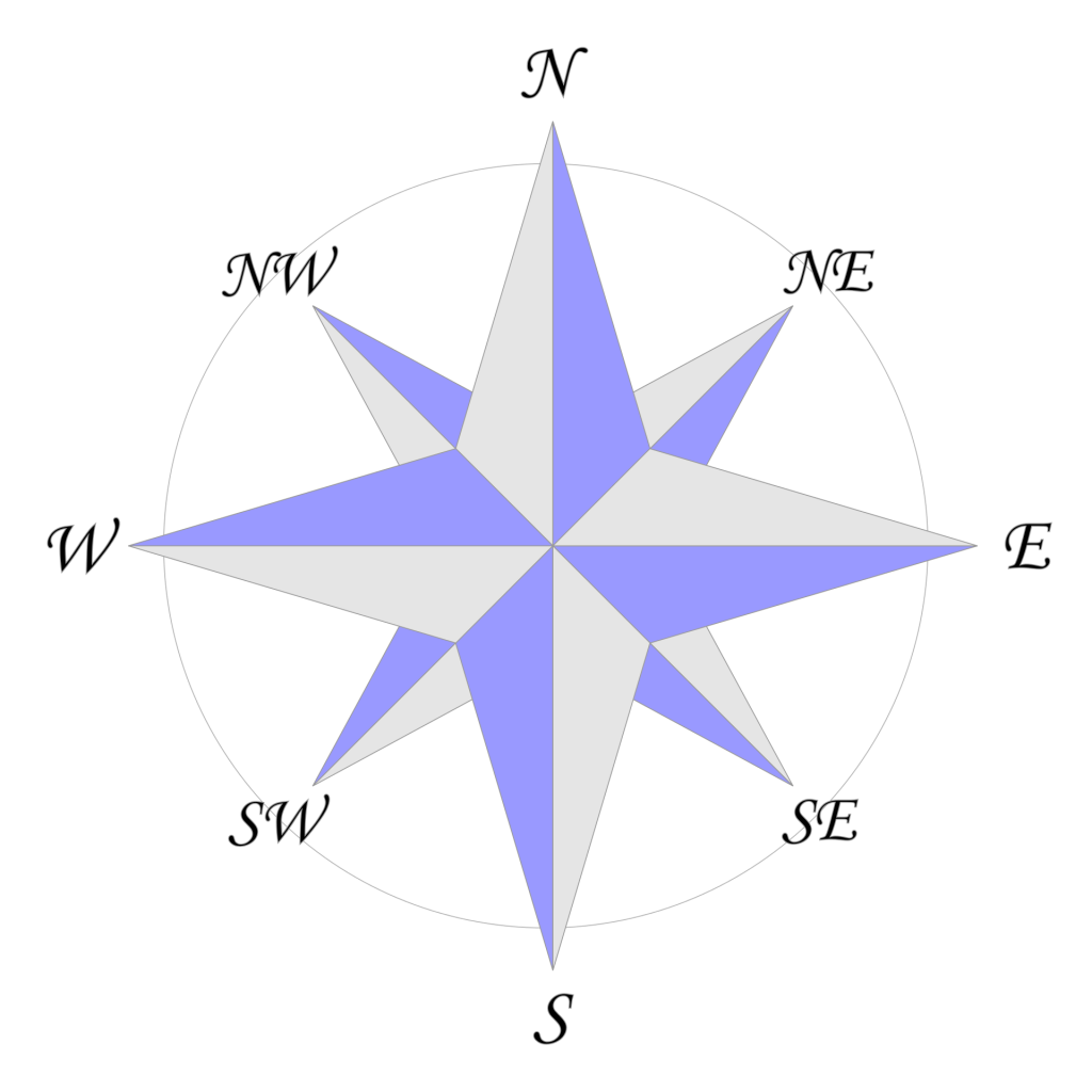 purple and gray 8 sided compass rose